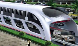 Nowy pomysł z Chin: autobus poruszający się ponad ruchem ulicznym