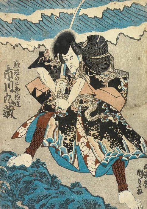 Drzeworyt przedstawiający samuraja