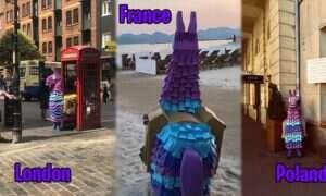 Charakterystyczne lamy z Fortnite na terenie wielkich miast