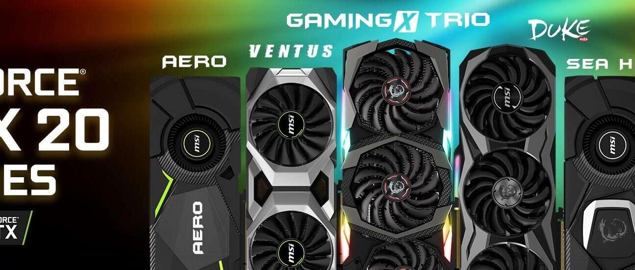 autorskie karty GeForce RTX, MSI, GeForce RTX, Duke, Sea Hawk, Ventus, Gaming X Trio, Aero, MSI, Gaming, , autorskie karty GeForce RTX