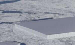 W jaki sposób powstała ta idealnie wykrojona, prostokątna góra lodowa?