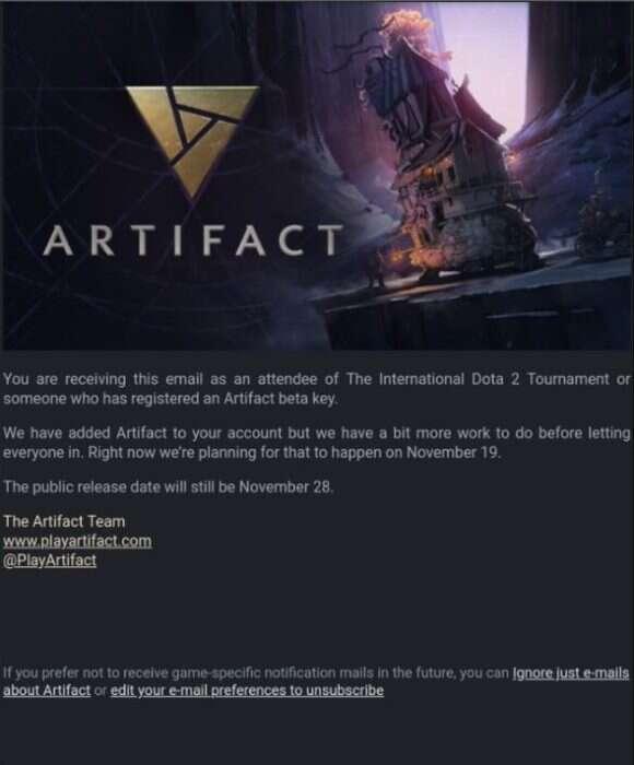 Beta karcianki Artifact została przesunięta