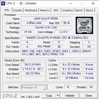 i9-9900K z rekordem OC na całą serię Intel Core