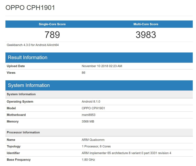 Oppo A7, benchmark Oppo A7, geekbench Oppo A7, specyfikacja Oppo A7, parametry Oppo A7
