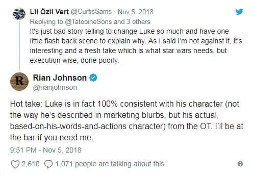 W Ostatnim Jedi Luke jest zgodny z oryginalną trylogią