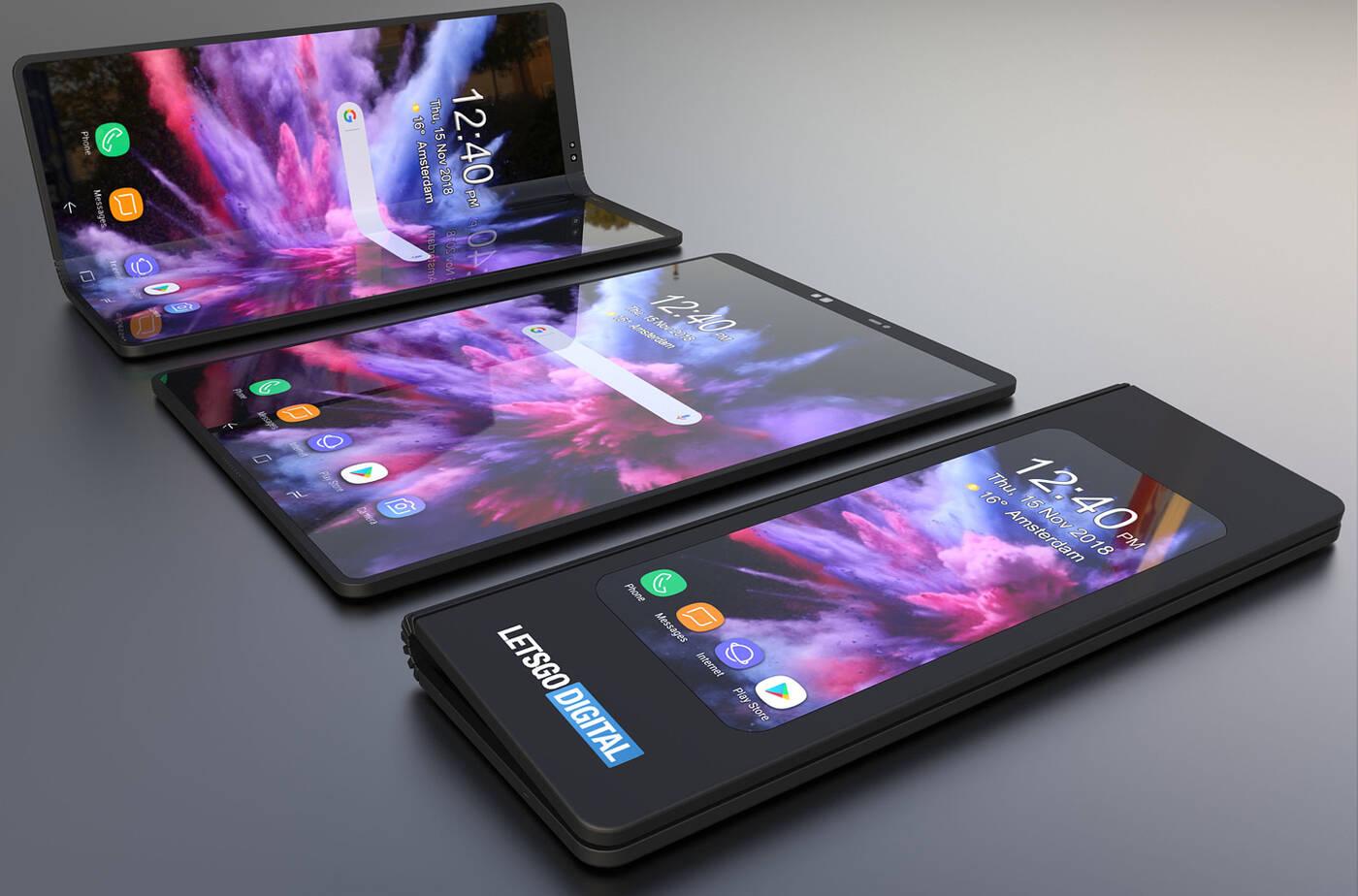 Samsung, składany smartfon Samsung, składany telefon Samsung, Galaxy F, Samsung Galaxy F, render składanego smartfona, render Galaxy F