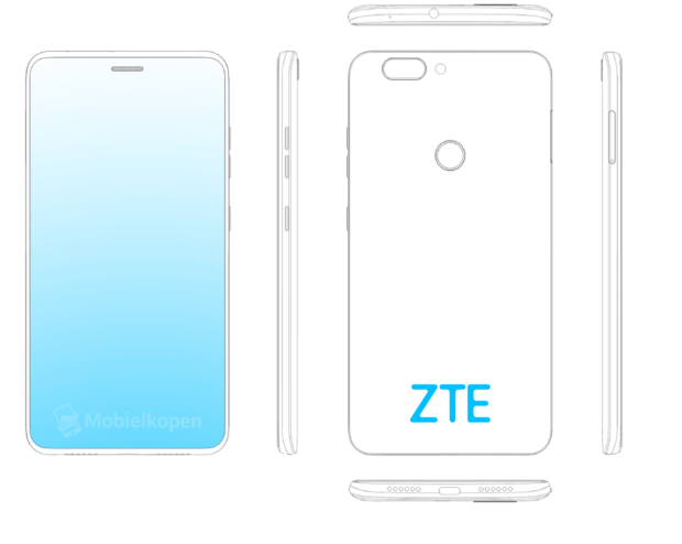 ZTE, patent, wyświetlacz ZTE, ekran ZTE, otwór ZTE. głośnik ZTE