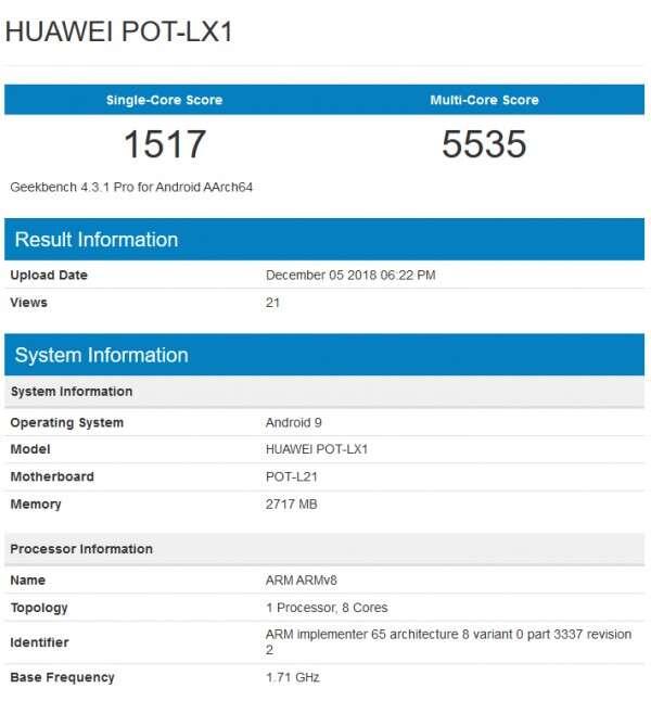 Huawei P Smart 2019, benchmark Huawei P Smart 2019, geekbench Huawei P Smart 2019, specyfikacja Huawei P Smart 2019