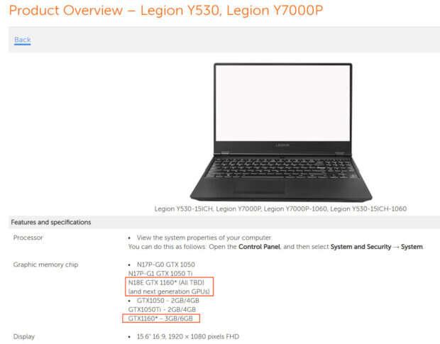 Lenovo potwierdza mobilnego GeForce GTX 1160
