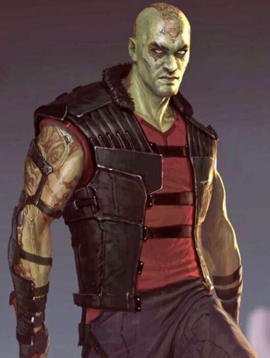 Jason Mamoa w roli Draxa w Strażnikach Galaktyki