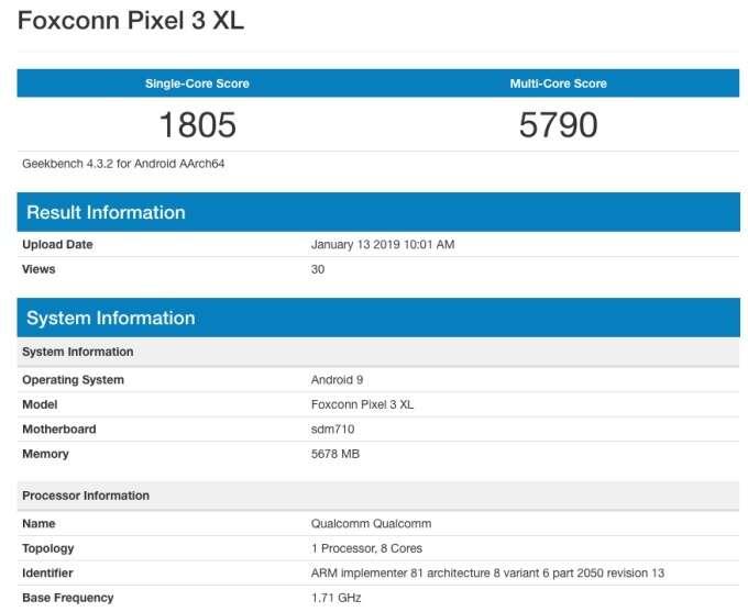 Google Pixel 3 XL Lite, Pixel 3 XL Lite, geekbench Pixel 3 XL Lite, specyfikacja Pixel 3 XL Lite, benchmark Pixel 3 XL Lite, wydajność Pixel 3 XL Lite,