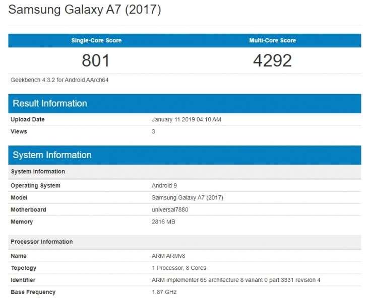 Galaxy A7 (2017), android pie Galaxy A7 (2017), android 9 Galaxy A7 (2017), geekbench Galaxy A7 (2017), samsung Galaxy A7 (2017)