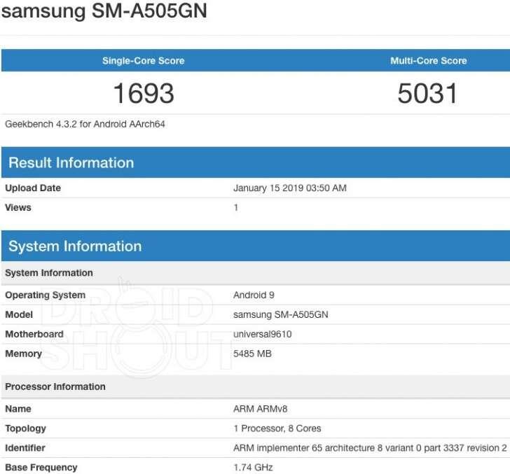 Samsung Galaxy A50, Galaxy A50, benchmark Galaxy A50, geekbench Galaxy A50, wydajność Galaxy A50, specyfikacja Galaxy A50