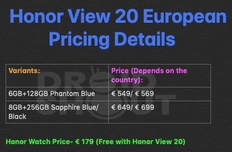 Honor View 20, cena Honor View 20, Watch Magic, cena Watch Magic
