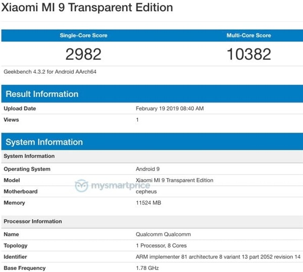 Xiaomi Mi 9 Transparent, geekbench Xiaomi Mi 9 Transparent, benchmark Xiaomi Mi 9 Transparent, wydajność Xiaomi Mi 9 Transparent