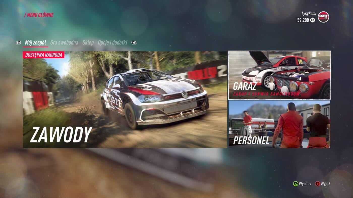 DiRT Rally 2.0 menu