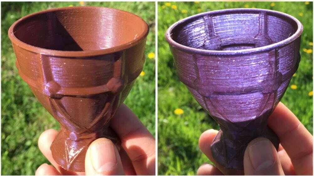 Ten dichroiczny materiał do druku 3D zmienia kolor z punktu widzenia