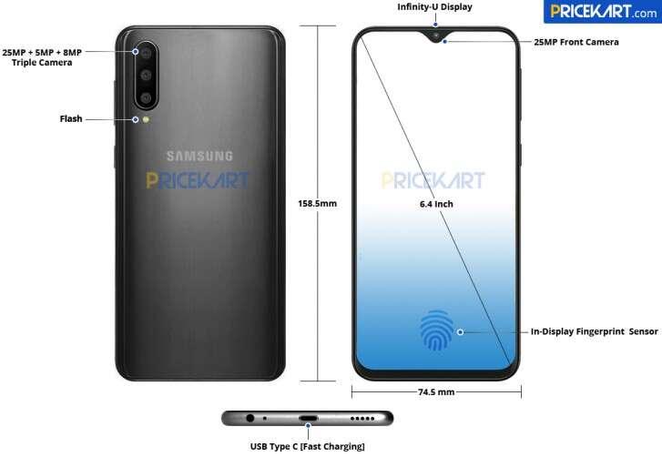Samsung Galaxy A50, render Galaxy A50, wygląd Galaxy A50, design Galaxy A50,