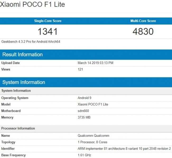 Pocophone F1 Lite, geekbench Pocophone F1 Lite, benchmark Pocophone F1 Lite, specyfikacja Pocophone F1 Lite, wydajność Pocophone F1 Lite