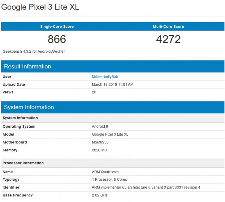 Pixel 3 Lite XL, google Pixel 3 Lite XL, geekbench Pixel 3 Lite XL, benchmark Pixel 3 Lite XL, wydajność Pixel 3 Lite XL