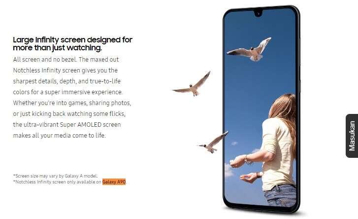 Galaxy A90, notch Galaxy A90, ekran Galaxy A90, wyświetlacz Galaxy A90, aparat Galaxy A90