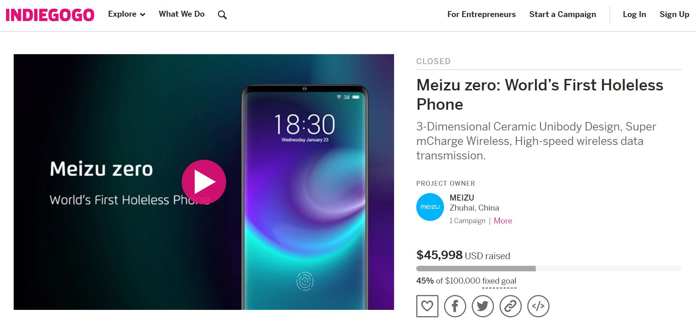 Meizu Zero, indiegogo Meizu Zero, kampania Meizu Zero, crowdfunding Meizu Zero