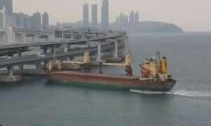 Konfrontacje rosyjskiego okrętu towarowego z mostem możemy zaliczyć do nieudanych