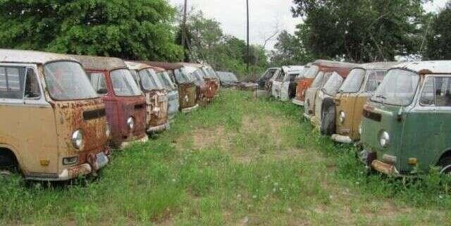 Ktoś chętny na zakup 55 zdezelowanych busów Volkswagen T2?