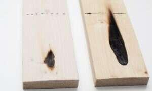 Powstała powłoka wykonana z drewna odporna na podpalenia