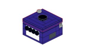 Miniaturowy GameCube z Lego jako schowek na gry Nintendo Switch