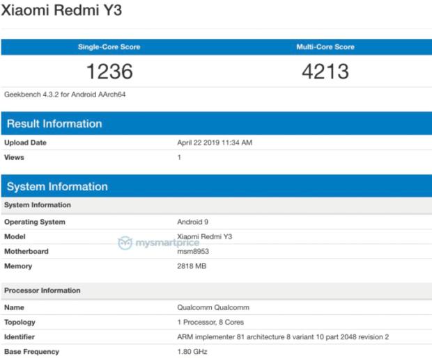 Redmi Y3, geekbench Redmi Y3, test Redmi Y3, benchmark Redmi Y3, wydajność Redmi Y3