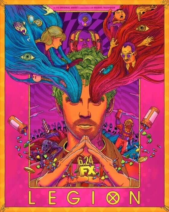 Psychodeliczny plakat promujący trzeci sezon serialu Legion