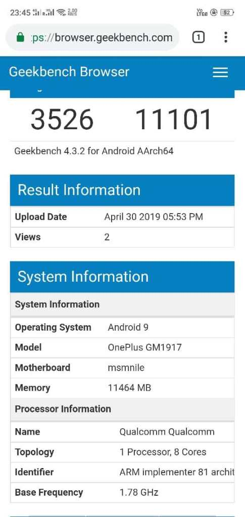 OnePlus 7 Pro, geekbench OnePlus 7 Pro, benchmark OnePlus 7 Pro, wydajność OnePlus 7 Pro, test OnePlus 7 Pro,