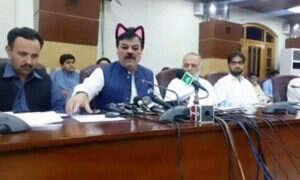 Kocie uszy na głowie pakistańskiego ministra