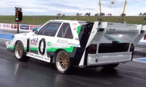 Obejrzyj jak przerobione Audi Quattro S1 zalicza ćwierć mili