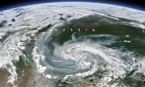 Arktyka jest ogarnięta pożarami, co pokazują zdjęcia satelitarne