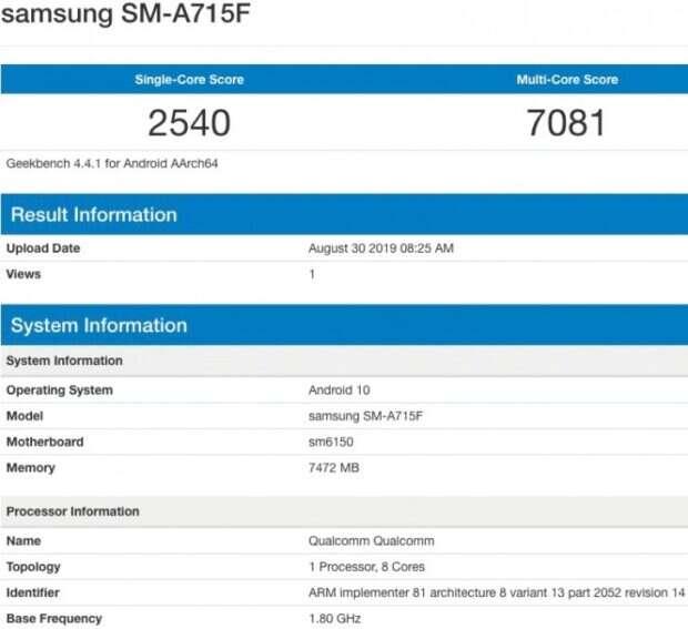 Galaxy A71, benchmark Galaxy A71, geekbench Galaxy A71, samsung Galaxy A71, testy Galaxy A71, wydajność Galaxy A71
