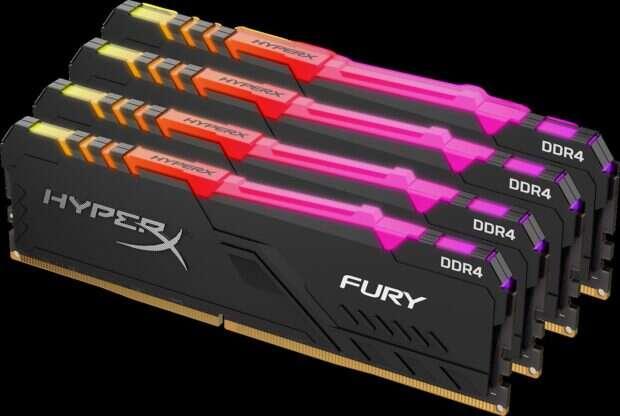 Fury DDR4 RGB, HyperX Fury DDR4 RGB, zestawy Fury DDR4 RGB, częstotliwość Fury DDR4 RGB, wygląd Fury DDR4 RGB