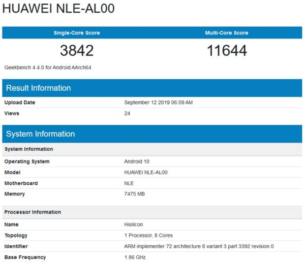 NLE-AL00, huawei NLE-AL00, geekbench NLE-AL00, benchmark NLE-AL00, testy NLE-AL00, wydajność NLE-AL00
