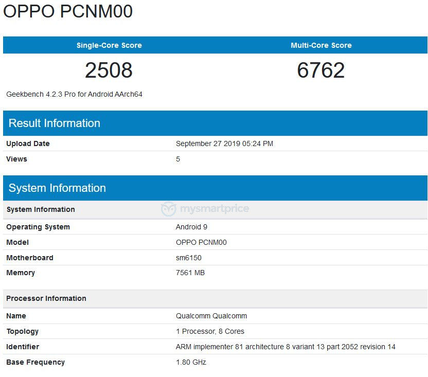 Oppo K5, geekbench Oppo K5, benchmark Oppo K5, wydajność Oppo K5, testy Oppo K5, test Oppo K5,