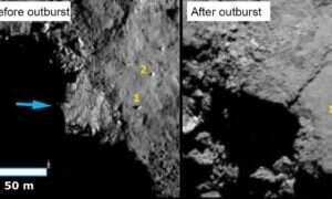 Zdjęcia pokazują zmiany jakie zaszły na powierzchni komety