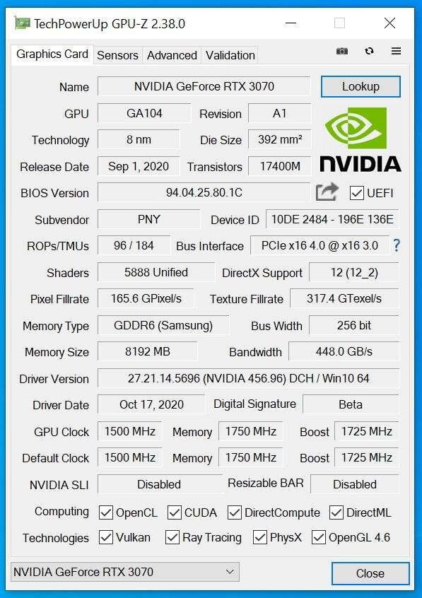 Test PNY GeForce RTX 3070 8GB XLR8 Gaming REVEL EPIC-X RGB Triple Fan Edition