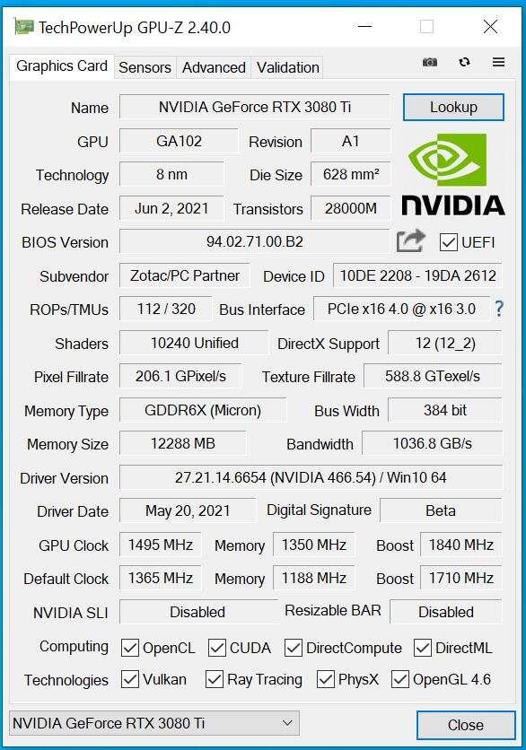 Test ZOTAC GeForce RTX 3080 Ti AMP Holo