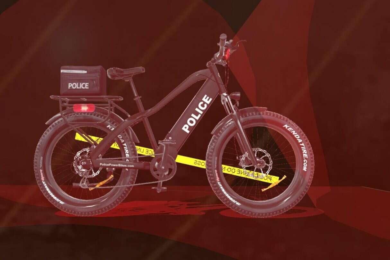 Policjanci na elektrycznych rowerach, policyjne ebike,